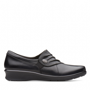 Clarks Hope Roxanne Black Leather Womens Shoes